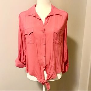 Forever 21 Tie Front Button-Up Blouse
